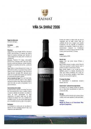 RAIMAT VIÑA 54 SHIRAZ 2006