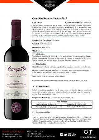 CAMPILLO RESERVA SELECTA 2012