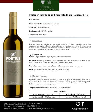 FORTIUS BLANCO CHARDONNAY FERMENTADO EN BARRICA 2016