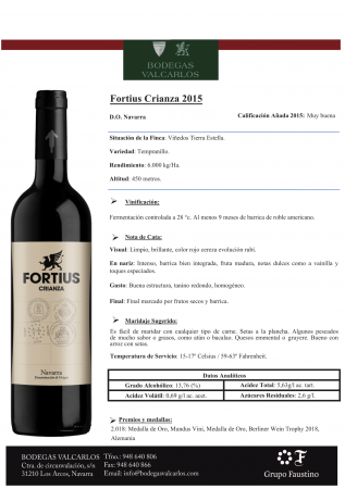 FORTIUS CRIANZA 2015